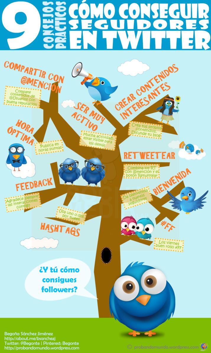 9 consejos de @Begonte para conseguir seguidores en Twitter #infografia #infographic #socialmedia