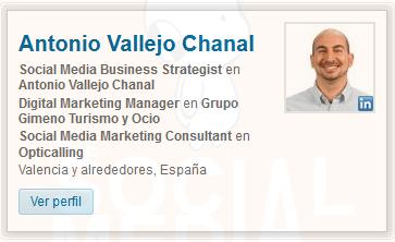 Perfil de Linkedin de Antonio Vallejo Chanal