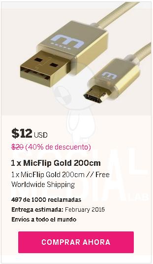 MicFlip: Cable USB universal reversible busca fondos. Las grandes ideas necesitan de mucha ayuda para poder desarrollarse.=