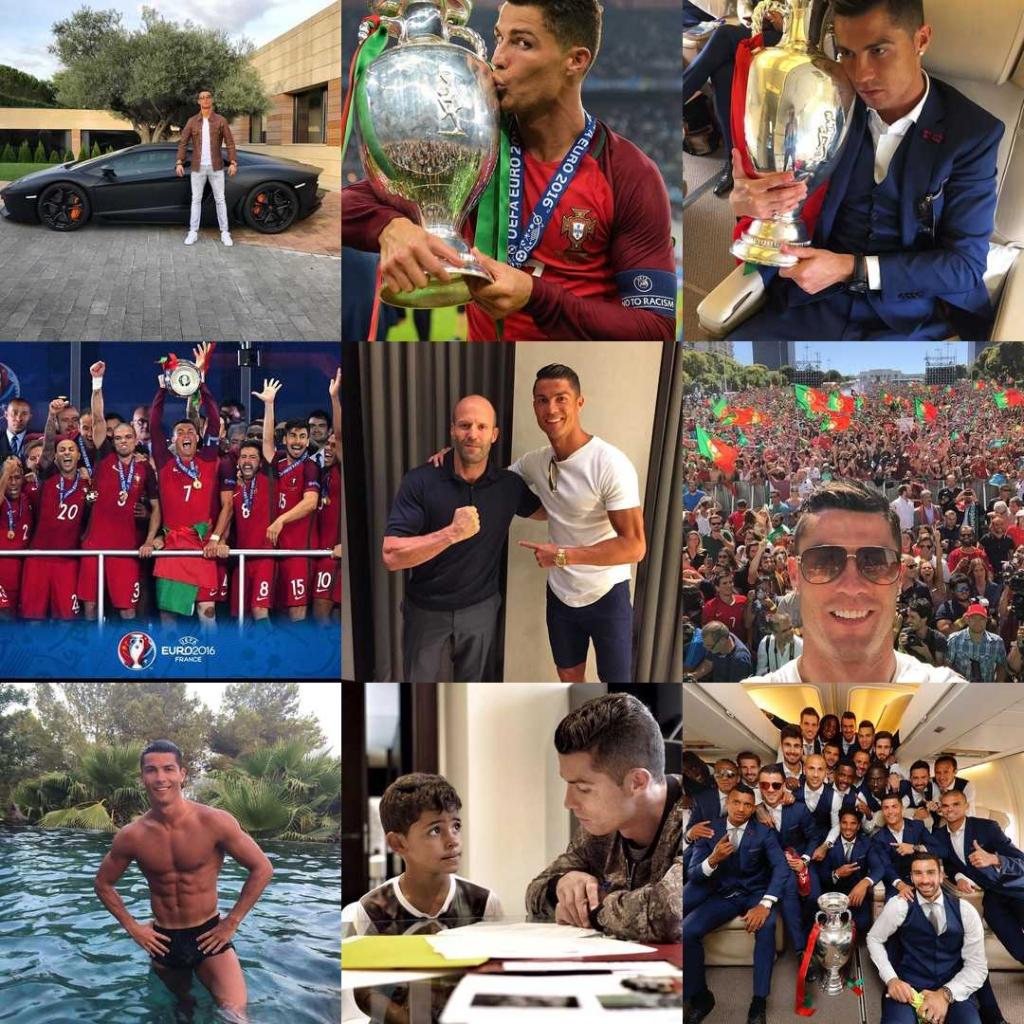 Cristiano Ronaldo. Estas son sus #2016BestNine del 2016. Con 1.075.647.377 likes en 775 publicaciones en 2016.