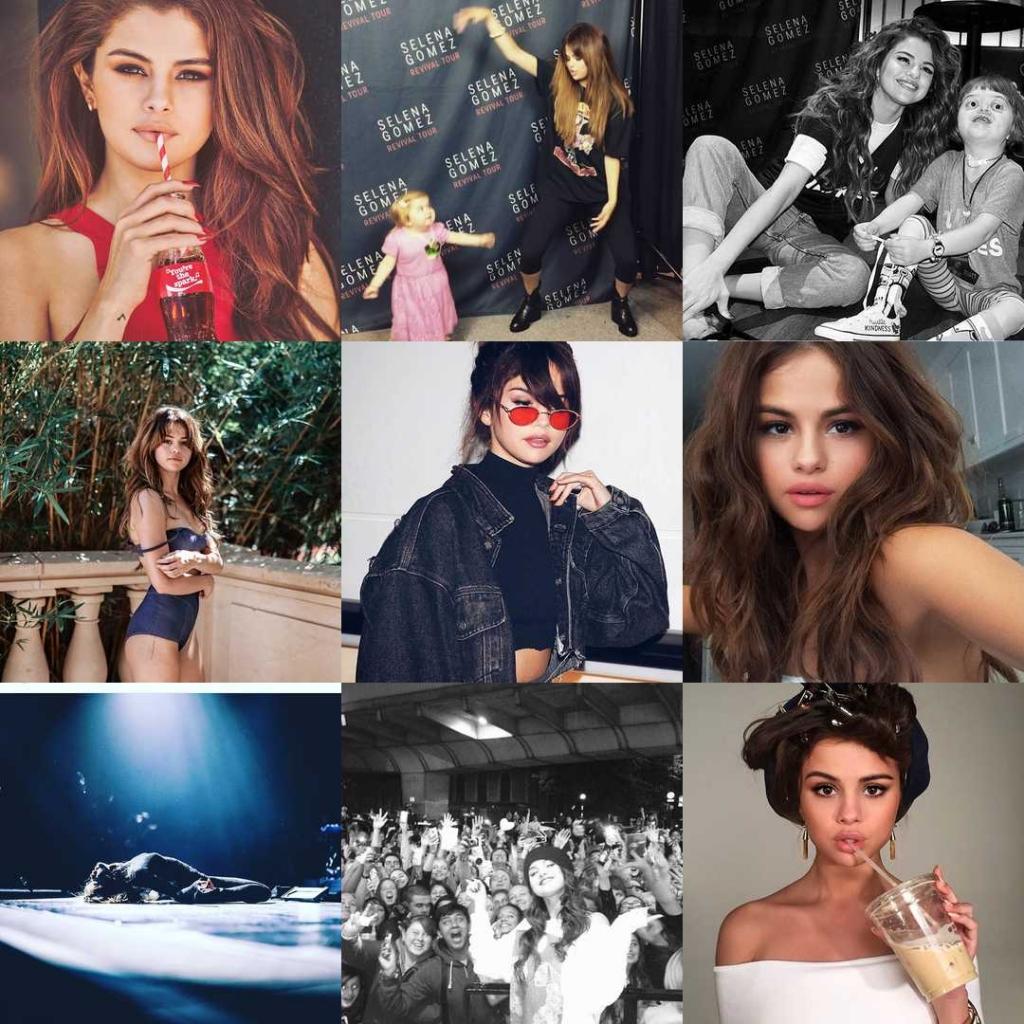 Selena Gomez. Estas son sus #2016BestNine del 2016. Con 345,877,935 likes en 146 publicaciones en 2016.